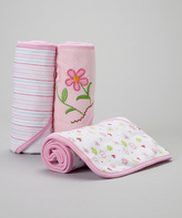 SpaSilk Pink Flower Terry Hooded Towel Set