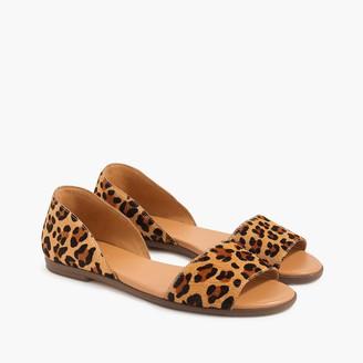 J.Crew Morgan leopard calf hair peep-toe flats