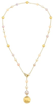 Marco Bicego Africa 18K Gold, 5MM-8.5MM Round Freshwater Pearl & Diamond Hand Engraved Lariat Necklace