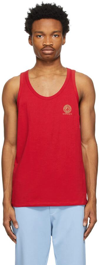 Versace Underwear Red Medusa Logo Tank Top