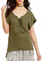 Soulmates Lace-Up High-Low Blouse