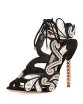 Sophia Webster Selina Beaded Ankle-Tie Sandal, Black/Gold