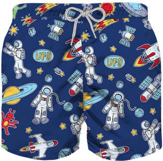 MC2 Saint Barth Astronauts Print Boy Swim Trunks