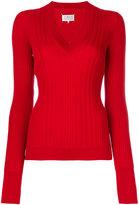 Maison Margiela ribbed V-neck sweater - women - Wool - S