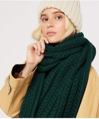 Accessorize Cable Knit Scarf - Green