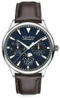 Movado Heritage Stainless Steel & Leather Strap Celestograf Watch