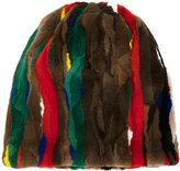 Marni patch striped hat - women - Mink Fur/Acrylic/Wool - One Size