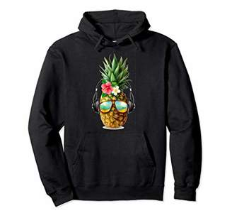 Dj Pineapple With Headphones and Sunglasses Pullover Hoodie