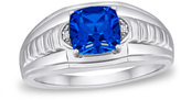 Zales Men's 8.0mm Cushion-Cut Simulated Blue Sapphire and Diamond Accent Ring in Sterling Silver