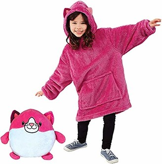 Dingjiuyan Huggle Pets Hoodie Plush Animal Toys Turn Into Oversized Hoodie with Giant Pocket Long Sleeve Long Sleeves with Huge Pockets Jumper Bathrobe Pajama Pillow