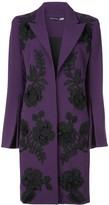 Josie Natori embroidered crepe coat