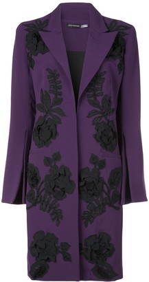 Josie Natori Embroidered Crepe Coat