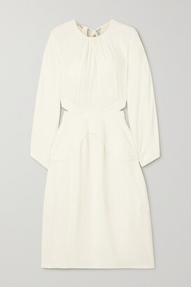 Stella McCartney - Amara Gathered Cutout Crepe Midi Dress - White