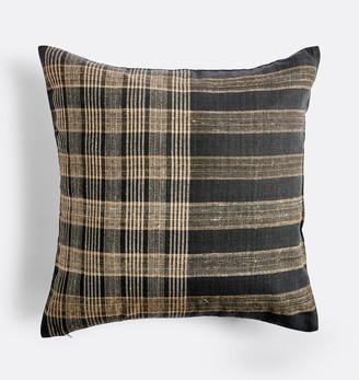 Rejuvenation Neutral Plaid Handspun Raw Silk Pillow Cover