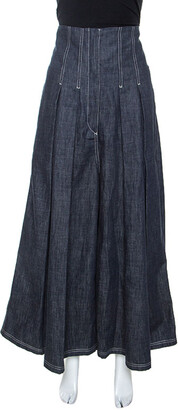 Brunello Cucinelli Blue Denim Pleated Wide Leg High Waisted Trousers M