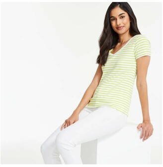 Joe Fresh Women's Essential V-Neck Tee, Lime Green (Size S)