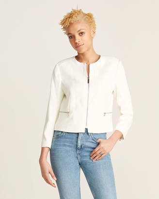 Ted Baker Cropped Textured Ivory Jacket