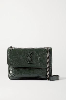 Saint Laurent Niki Mini Crinkled Glossed-leather Shoulder Bag - Dark green