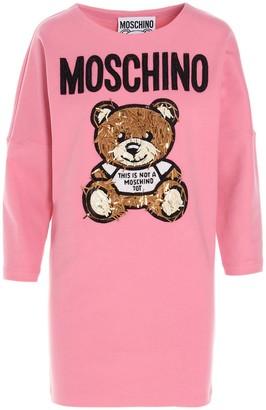 Moschino Teddy Embellished Sweatshirt Dress