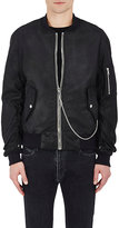 RtA Men's Leather Oversized MA-1 Bomber Jacket-BLACK