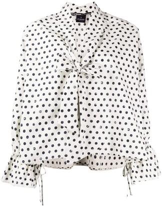 Pinko bow neck polka dot print blouse