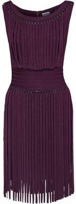 Herve Leger Fringed Ring-embellished Bandage Mini Dress
