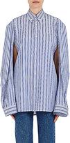 Balenciaga Women's Convertible-Sleeve Striped Cotton Shirt