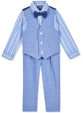 Nautica Baby Boys 4-Pc. Plaid Shirt, Vest, Pants & Printed Bow Tie Set