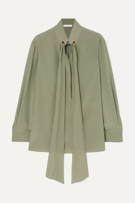 Chloé Tie-neck Silk Crepe De Chine Blouse - Green