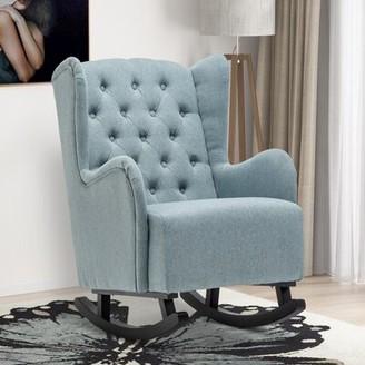 Red Barrel Studio Denie Rocking Chair Fabric: Blue