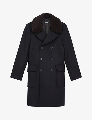 The Kooples Sheepskin-collar wool-blend duffle coat
