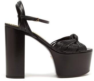 Gucci Knotted-vamp Leather Platform Sandals - Womens - Black