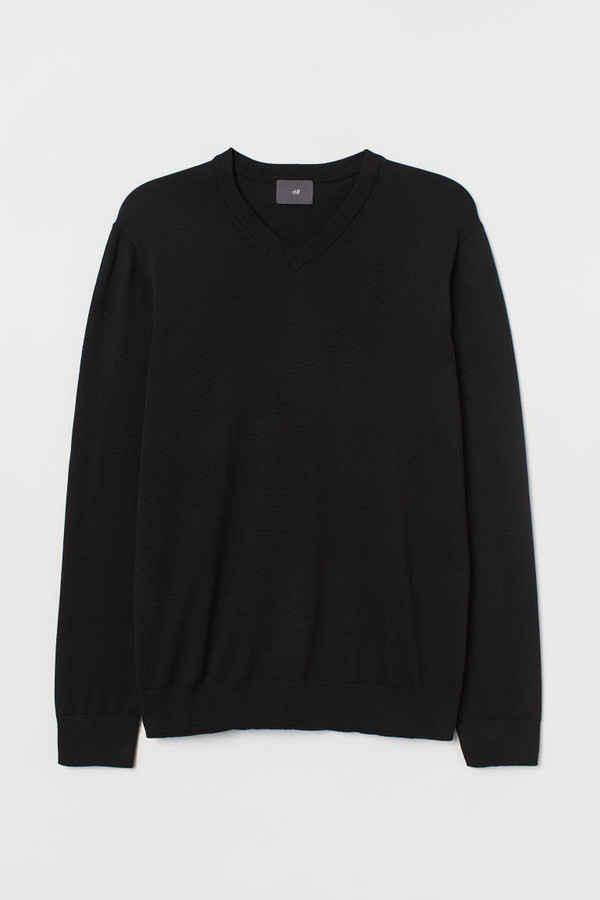 Thumbnail for your product : H&M V-neck Cotton Sweater - Black