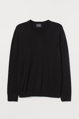 H&M V-neck Cotton Sweater - Black