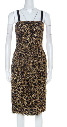 Dolce & Gabbana Black Tulle and Gold Confetti Embellished Cocktail Dress S