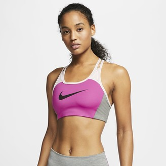 Nike Women's Medium-Support 1-Piece Pad Color-Block Sports Bra Swoosh