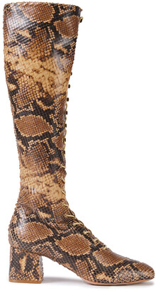 Zimmermann Lace-up Snake-effect Leather Knee Boots