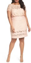 Tadashi Shoji Plus Size Women's Embroidered Lace Blouson Dress