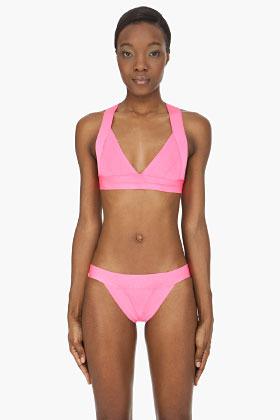 Herve Leger Neon pink triangle Bikini