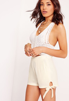 Missguided Tie Detail High Waisted Shorts White