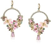Betsey Johnson Marie Antoinette Multi-Flower Drama Gypsy Hoop Earrings
