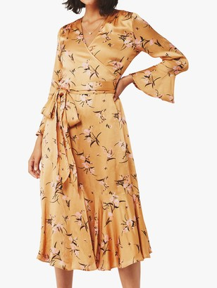 Ghost Idris Floral Satin Wrap Dress, Orange