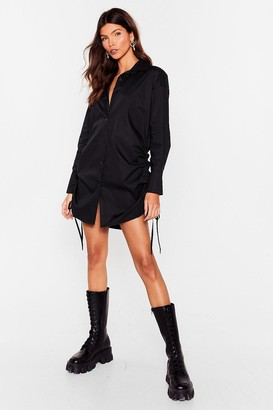 Nasty Gal Womens Lemme Collar You Back Ruched Shirt Dress - Black