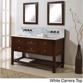 Direct Vanity Sink Direct Vanity 60-inch Mission Spa Premium Dark Brown Double Vanity Sink Cabinet