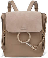 Chloé Faye Small Textured-leather And Suede Backpack - Gray
