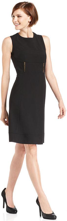 Calvin Klein Dress, Sleeveless Metal-Hardware Sheath