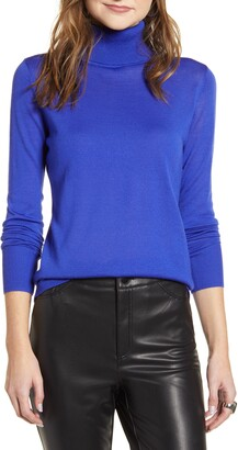 Halogen Turtleneck Merino Wool Blend Sweater