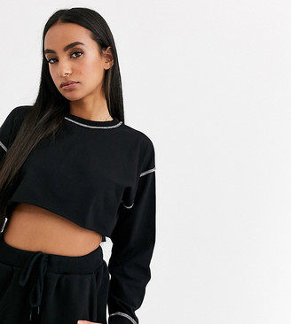 ASOS DESIGN Petite super crop tee with long sleeve cuff detail and contrast stitch in black