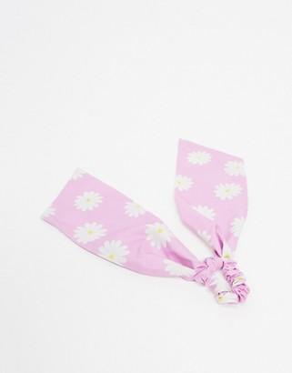 ASOS DESIGN hair scarf in lilac daisy print
