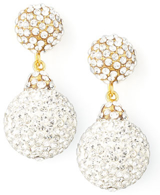 Jose & Maria Barrera Pave Crystal Double-Drop Earrings, Clear